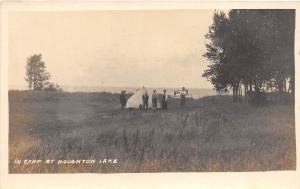 D15/ Houghton Lake Michigan Mi Photo RPPC Postcard c1910 Camp Scene Tent Boat