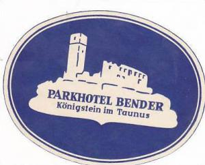 GERMANY KOENIGSTEIN PARKHOTEL BENDER VINTAGE LUGGAGE LABEL