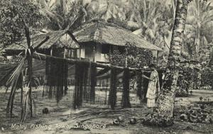 singapore, Malay Fishing Town (1910s) Postcard