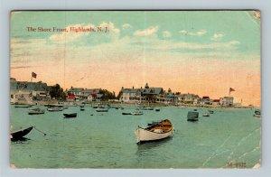 Highlands NJ, The Shore Front & Harbor, Vintage New Jersey c1917 Postcard