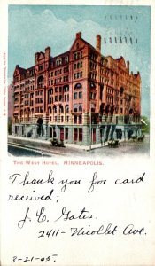 Minnesota Minneapolis The West Hotel 1905 Private Mailing Card
