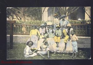 VINTAGE BLACK AMERICANA SUGAR CANE GRINDERS NEGRO WORKERS OLD POSTCARD