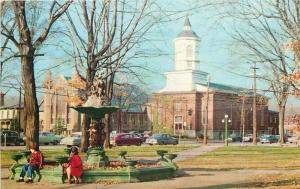 Fredonia NY~Kids on Barker Commons Fountain~First Methodist Church~1950s Cars PC