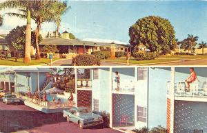 Naples FL Trails End Motor Hotel Edsel Old Car Postcard