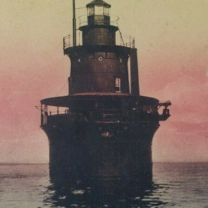Deer Island Light House Lighthouse Boston Harbor Massachusetts Vtg Postcard F132