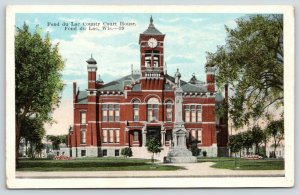 Fond du Lac Wisconsin~County Courthouse~Civil War Soldiers Monument~c1916 PC