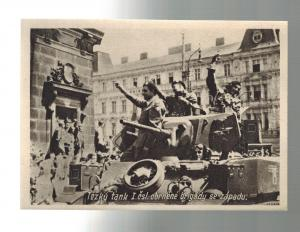 Mint Liberation of Czechoslovakia 1945 Soldiers on Tanks RPPC Postcard WW 2
