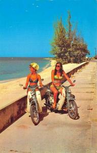 Jamaica West Indies Motorcycle Scooters Bikini Women Postcard