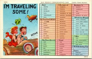 Linen Comic - I'm Travelling Some... Busy Person's Correspondence postcard
