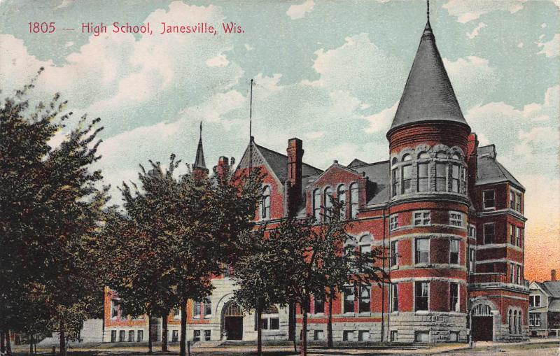 High School, Janesville, Wisconsin, early Postcard, Used, Sent to England