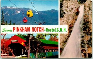 PINKHAM NOTCH New Hampshire Postcard Multi-View Tramway Covered Bridge c1960s