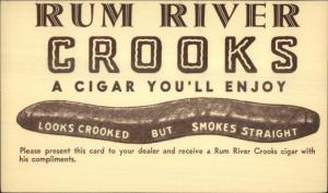 Rum River Crooks Cigars LOOKS CROOKED SMOKES STRAIGHT Postal Card