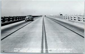 Galveston Texas RPPC Real Photo Postcard Four-Lane Causeway Bridge 1956 Cancel