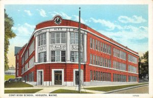 CONY HIGH SCHOOL Augusta, Maine Kennebec County c1920s Vintage Postcard