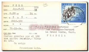 Old Postcard Telegraphie F8EG Mexico City Olympics in 1968 Luis Francisco Con...