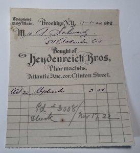 1922 HEYDENREICH BROS Pharmacists Atlantic Ave Clinton St NEW YORK Billhead