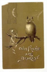 Pixie & owl on tree brach,  Owl Friends , PU-1903