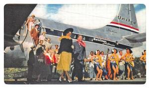 United Airlines Hawaiian Holiday Mainliner Hulu Girls Airplane Postcard