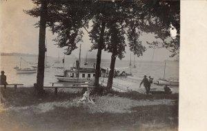G92/ Ship RPPC Postcard 1913 Oswego Yacht Club New York Boats Dock