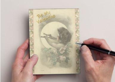 Handmade Valentine Postcards Set of 12, Old Fashioned Cupid and Country Roses