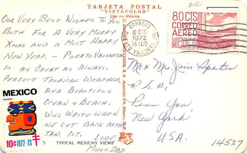Typical Mexico Tarjeta Postal 1972