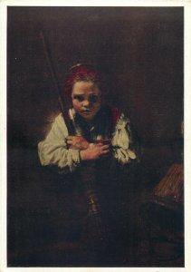 art signed Postcard Portrait of a boy by Rembrandt