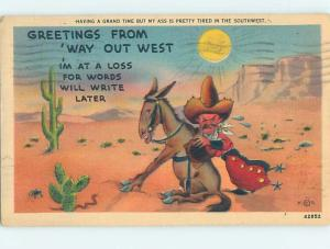 Linen western OLD WEST COWBOY TRYING TO PUSH HIS DONKEY MULE HL3435