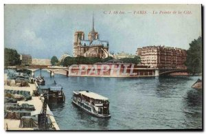 Old Postcard Paris La Pointe de la Cite boat Peniche