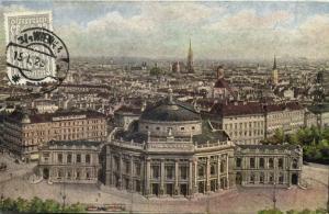 austria, VIENNA WIEN, Ausblick vom Rathausturm, Burgtheater Theatre (1925) Stamp