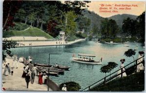 Chester WV Postcard The Lake, Rock Springs Park Boating Scene c1910s Unused