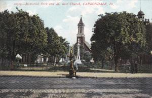 CARBONDALE, Pennsylvania, 1900-1910's; Memorial Park And St. Rose Church
