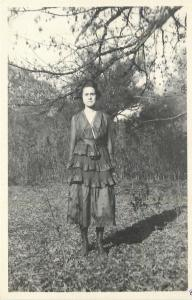 Lady in Black, Pleated, Layered Skirt~Standing In Timber Line~RPPC 1920s Fashion