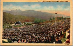 California CA postcard Hollywood Bowl music dome linen POSTED Curt Teich