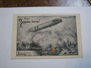 1914 Liittich Germany Postcard Zeppelin WW1 Munich art institute August Bombing