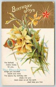 Birthstone March Bloodstone Stickpin~Daffodils~Gold Leaf Emboss~Red Star~1908 PC