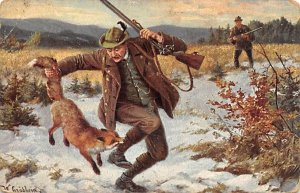 Hunter Being Biten by a Fox Hunting Unused
