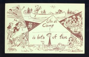 Girl Scout Camp Postcard, Life At Camp Is Lots Of Fun, 1950's?