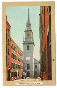 Boston MA Old North Church Gold Gilt Border Vintage Julius Bien Postcard