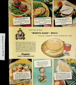 1948 Campbell's Cream of Mushroom Soup Recipe Vintage Print Ad 4376