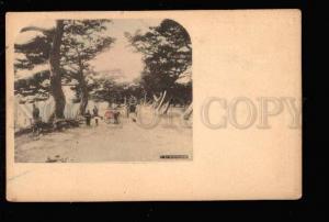 027636 JAPAN MAIKONOHAMA Rickshaw & park view Vintage PC