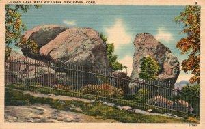 Vintage Postcard 1930's Judges Cave West Rock Park New Haven CT Connecticut