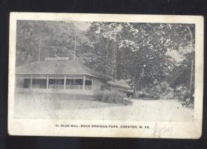 CHESTER WEST VIRGINIA ROCK SPRINGS PARK YE OLDE MILL VINTAGE POSTCARD BATH OHIO