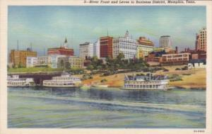 Tennessee Memphis River Front and Levee To Business District Curteich