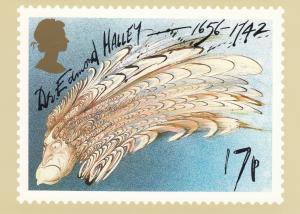 Halley's Comet Stamp postcard 17p