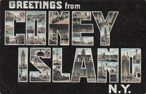 Greetings From Coney Island, Brooklyn, New York, Early Postcard, Unused