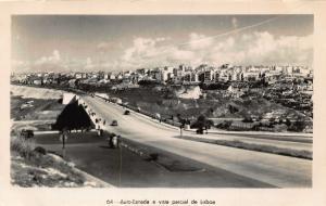 Portugal Auto Estrada e Vista Parcial de Lisboa Panorama Postcard
