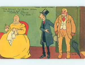 Bent 1909 comic TOM B - WIFE IS ANGRY HUSBAND BROUGHT HOME HIS FRIEND HL2360