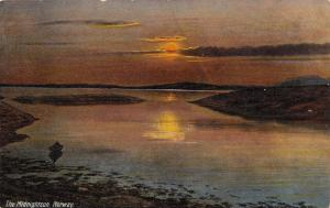 Norway Coast~The Midnightsun~Reflects in Water~Skiff in Bay~1910 Postcard
