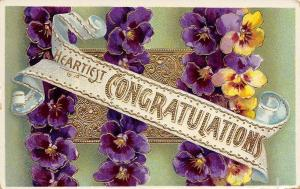 Congratulations Banner~Purple Yellow Pansies~Gold Leaf Scroll~Emboss~Germany~GEL
