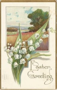 White Lily Of The Valley with Gold Christian Cross over Spring Meadow Scene